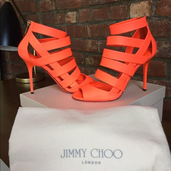 e05072ff3be9 Jimmy Choo Shoes | Dame Caged Leather Sandal Neon Flame | Poshmark